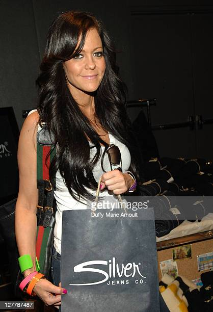 TV Personality Allison Melnick poses with Silver Jeans Co during Kari Feinstein MTV Movie Awards Style Lounge at the W Hollywood on June 3 2011 in...