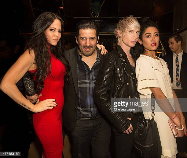 TV personality Allison Melnick Reda Bouaissa designer Brian Lichtenberg and Zha Zha Vi attend the Bootsy Bellows ReOpening at Bootsy Bellows on June...