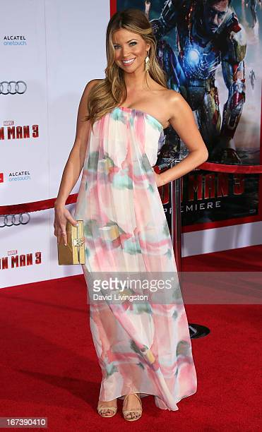 TV personality Amber Lancaster attends the premiere of Walt Disney Pictures' Iron Man 3 at the El Capitan Theatre on April 24 2013 in Hollywood...