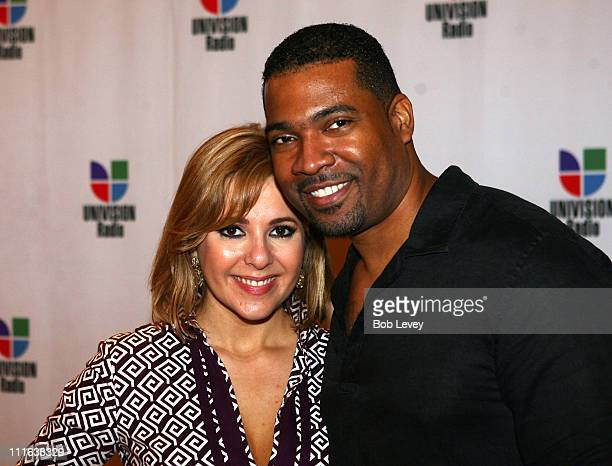 TV personality Ana Maria Canseco and DJ Carlos Alvarez attend the 9th Annual Latin GRAMMY Awards Univision Radio Remotes held at the Toyota Center on...