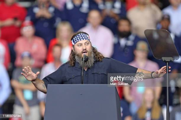 """Personality and businessman, Willie Robertson, speaks during U.S. President Donald Trump's """"Keep America Great"""" rally at the Monroe Civic Center on..."""