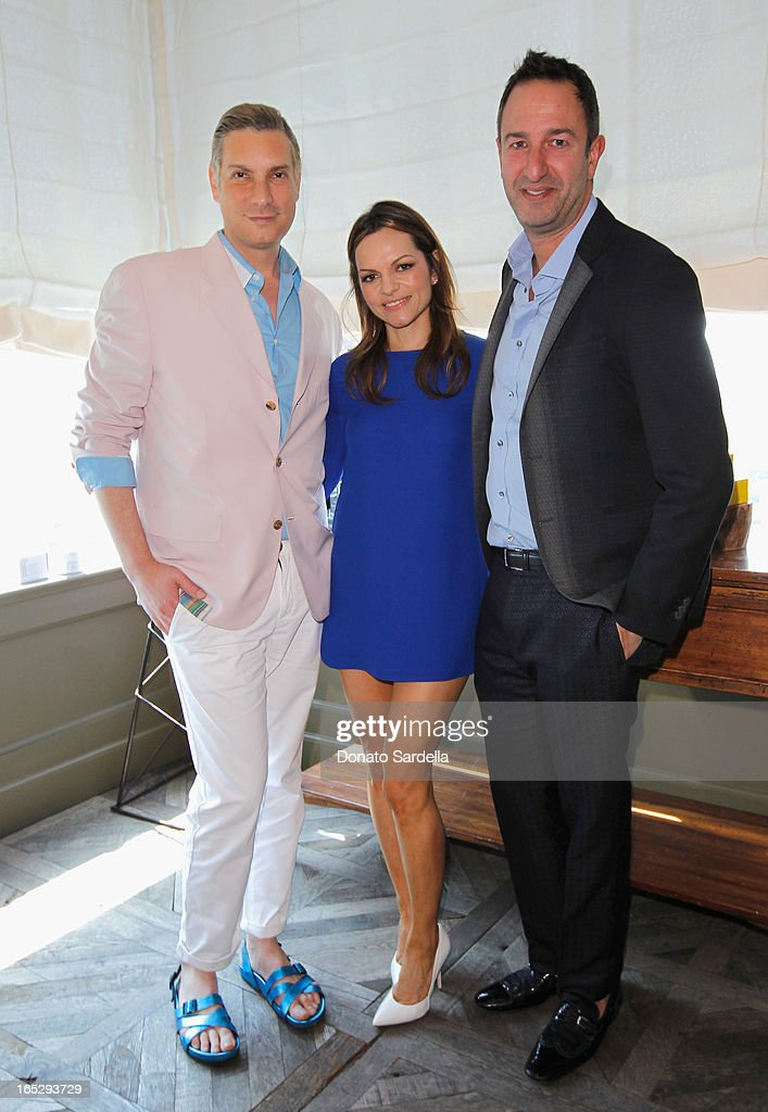 TV personality and Co-Owner of Decades Cameron Silver, Founder of Rodial Skincare Maria Hatzistefanis and TV personality and Co-Owner of Decades Christos Garkinos attend the Rodial 10th Anniversary Luncheon on April 2, 2013 in West Hollywood, California.