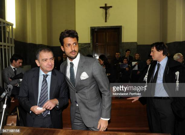 TV personality and entrepreneur Fabrizio Corona in court next to the lawyer Giuseppe Lucibello during his trial Milan Italy 2nd December 2010