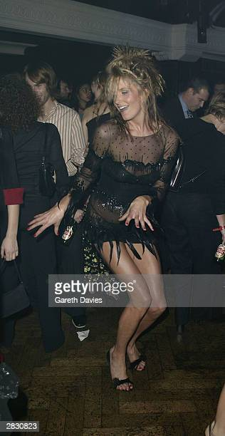 Personality and girlfriend of Rod Stewart Penny Lancaster dances at the afterparty at Pacha for Rod Stewart and Ben Elton's new musical 'Tonight's...