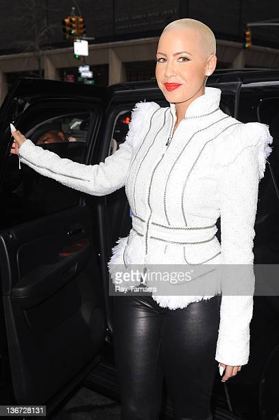 TV personality and singer Amber Rose leaves a Midtown Manhattan restaurant on January 10 2012 in New York City