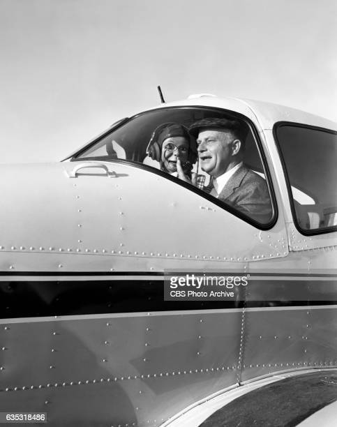 CBS personality and ventriloquist Edgar Bergen and dummy Charlie McCarthy are pictured at Santa Monica Airport Santa Monica CA Edgar Bergen emcee of...