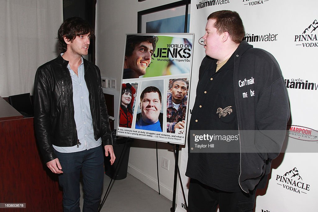 TV personality Andrew Jenks and friend Chad DenDanto attend the 'World Of Jenks' Season 2 Premiere And 'Andrew Jenks: My Life As A Filmmaker' Book Launch Party at Solo on March 16, 2013 in New York City.