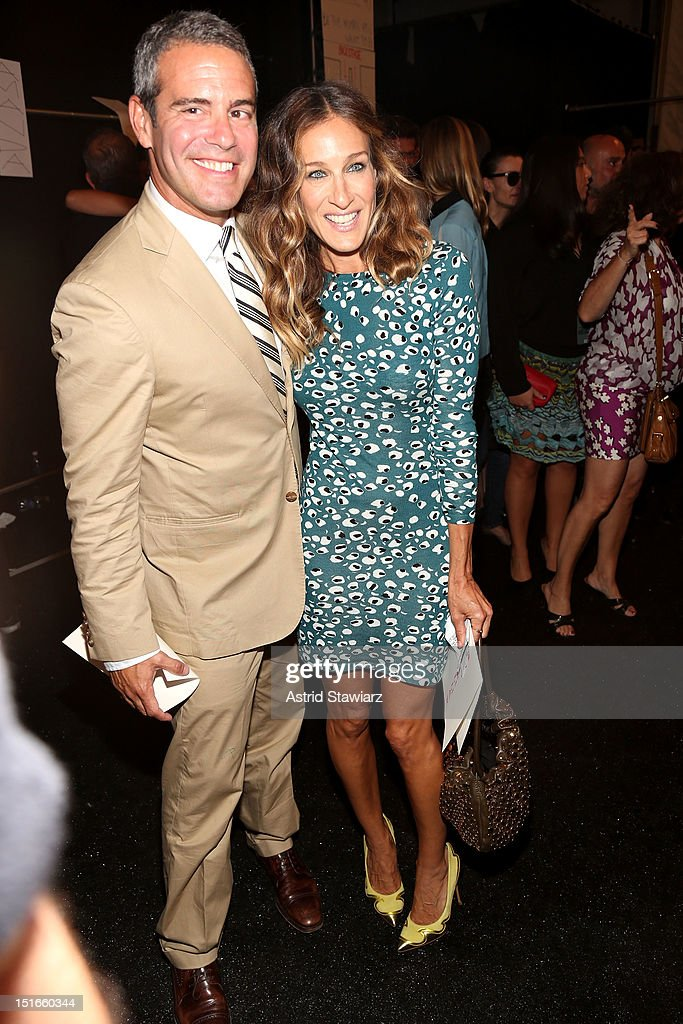 TV personality Andy Cohen and actress Jessica Parker pose backstage at the Diane Von Furstenberg Spring 2013 fashion show during Mercedes-Benz Fashion Week at The Theatre at Lincoln Center on September 9, 2012 in New York City.