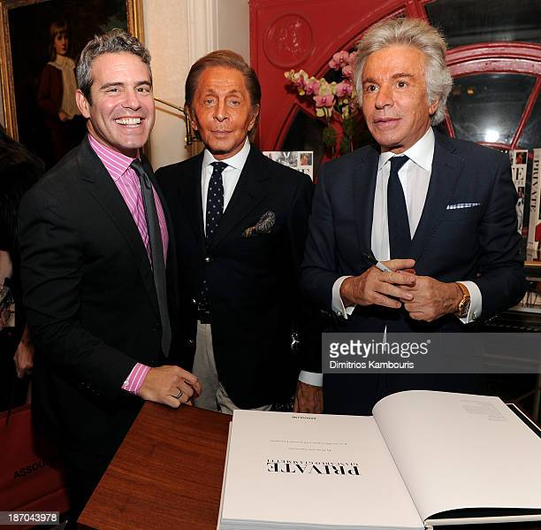TV Personality Andy Cohen Valentino Garavani and Giancarlo Giammetti attend a book signing for Giancarlo Giammetti's Autobiography 'Private Giancarlo...
