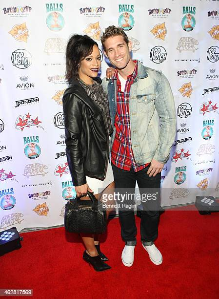 TV personality Aneesa Ferreira and CJ Koegel attend MTV's 'The Real World ExPlosion' Season Premiere Party at Bottomz Up Bar and Grill on January 14...