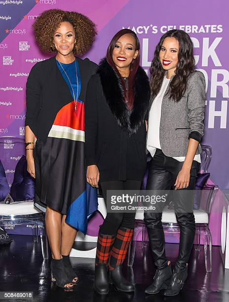 TV personality Anji Corley singer Monica and actress Jurnee SmollettBell attend Macy's Celebrates Black History Month In Conversation With Jurnee...