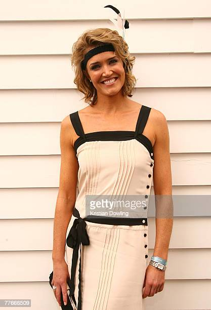 Personality Anna Coren poses at the Emirates Marquee on the first day of the Melbourne Cup Carnival Derby Day at Flemington Race Course on November 3...