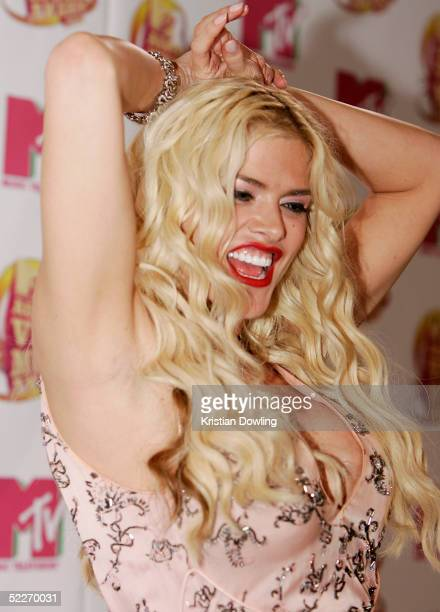 TV personality Anna Nicole Smith poses in the media room at the inaugural MTV Australia Video Music Awards at Luna Park on March 3 2005 in Sydney...