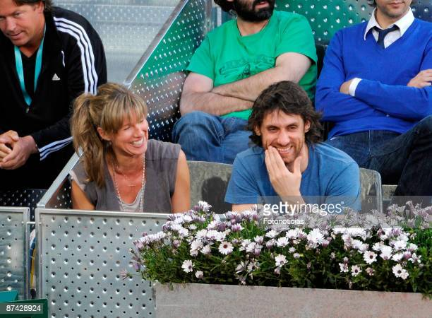 TV personality Anne Igartiburu and friend attend Madrid Open tennis tournament at La Caja Magica on May 15 2009 in Madrid Spain