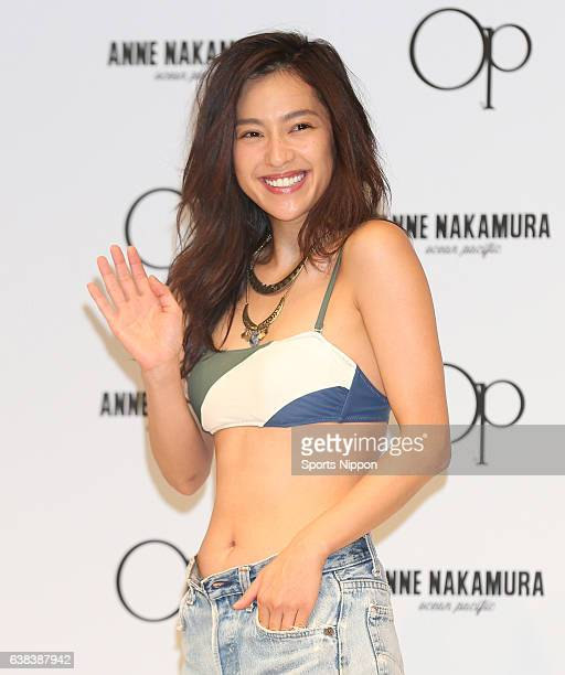 TV personality Anne Nakamura attends Ocean Pacific/Anne Nakamura swimsuits promotional event on July 5 2016 in Tokyo Japan