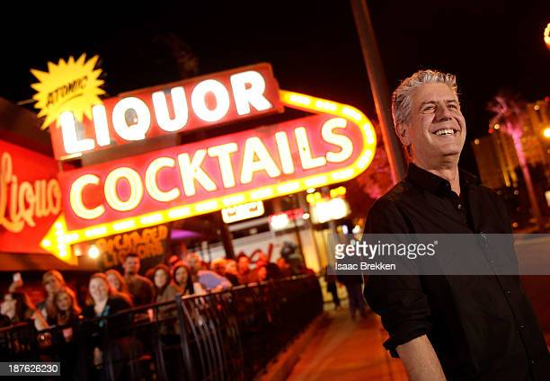 Personality Anthony Bourdain attends Parts Unknown Last Bite Live CNN Talk Show hosted by Anthony Bourdain at Atomic Liquors on November 10 2013 in...