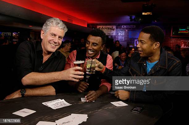 TV personality Anthony Bourdain CNN anchor Don Lemon and chef Marcus Samuelsson attend 'Parts Unknown Last Bite' Live CNN Talk Show hosted by Anthony...
