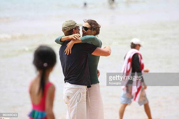 TV personality Antonia Kidman and fiance Craig Marran are seen kissing and cuddling at Palm Beach on December 30 2009 in Sydney Australia