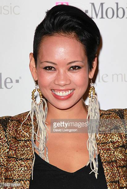 TV personality Anya AyoungChee attends Google and TMobile's celebration of the launch of Google Music at Mr Brainwash Studio on November 16 2011 in...
