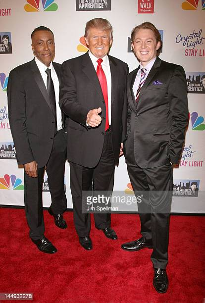 Personality Arsenio Hall Donald Trump and singer Clay Aiken attend the 'Celebrity Apprentice' Live Finale at American Museum of Natural History on...