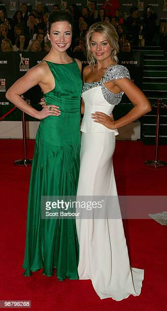 TV personality Ashleigh Brewer and Margot Robbie arrives at the 52nd TV Week Logie Awards at Crown Casino on May 2 2010 in Melbourne Australia
