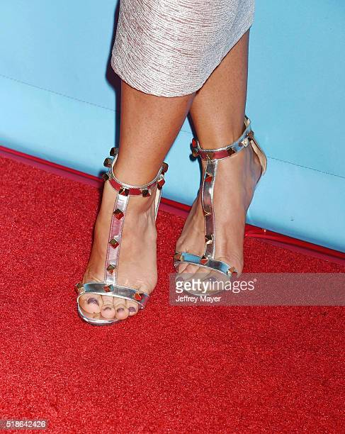 Personality Aubrey O'Day, shoe detail, at the 2016 Summer TCA Tour - NBCUniversal Press Tour at the Four Seasons Hotel - Westlake Village on April 1,...