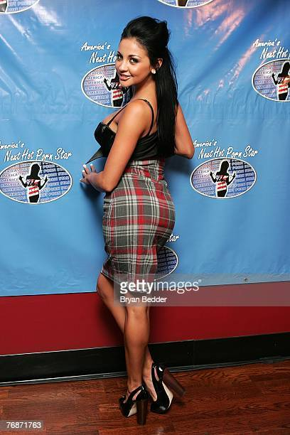 "Personality Audrey Bitoni attends the press conference to announce ""America's Next Hot Porn Star"" reality TV series at Head Quarters gentlemen's club..."