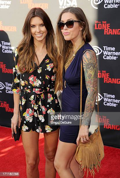 TV personality Audrina Patridge and sister Casey Patridge arrive at 'The Lone Ranger' World Premiere at Disney's California Adventure on June 22 2013...