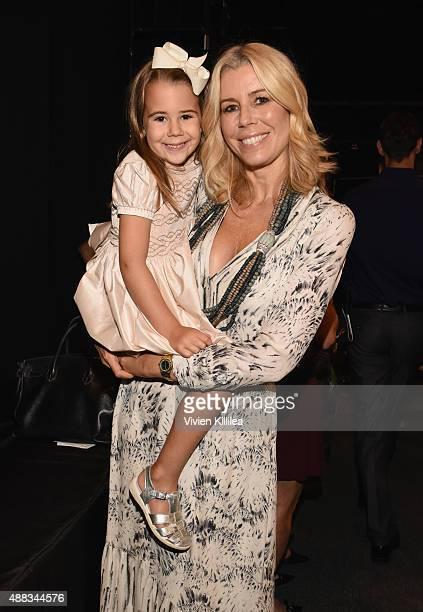 TV personality Aviva Drescher and daughter Sienna Drescher attend Carmen Marc Valvo Women's and Men's Collection S/S 2016 during New York Fashion...