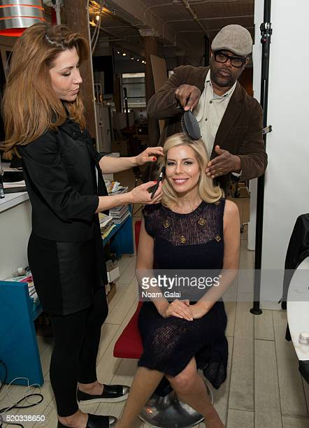 Personality Aviva Drescher is seen backstage on the set of the Spring/Summer collection campaign photo shoot for 'Chiel' by designer Danielle Chiel...