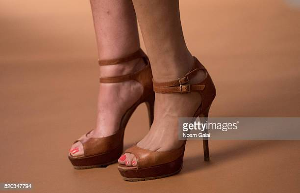Personality Aviva Drescher shoe detail is seen on set of the Spring/Summer collection campaign photo shoot for 'Chiel' by designer Danielle Chiel at...