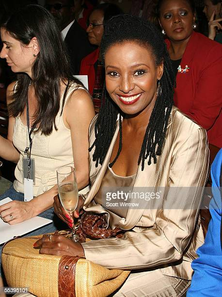 TV personality B Smith poses in the front row at the Multi By Bree Spring 2006 fashion show during Olympus Fashion Week at Bryant Park Grill on...
