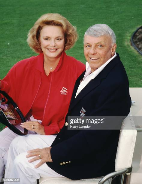Personality Barbara Sinatra and Frank Sinatra poses for a portrait in 1994 in Palm Springss, California.