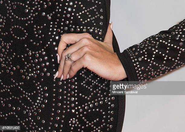 TV personality Barbie Blank ring detail attends Citi And OK TV Host GRAMMY viewing party at The Grove on February 15 2016 in Los Angeles California