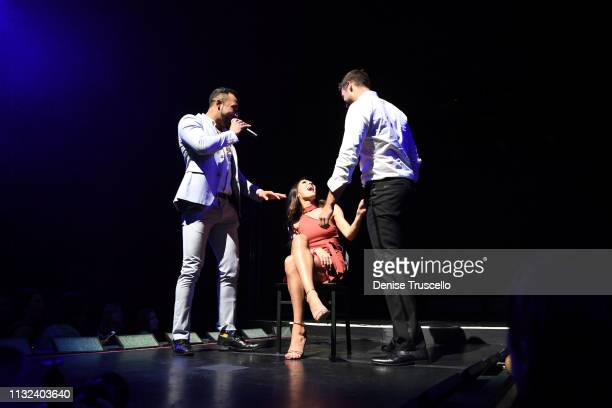 TV personality Becca Kufrin receives a lap dance from Garrett Yrigoyen in Chippendales Las Vegas at the Rio AllSuit Hotel and Casino on March 23 2019...
