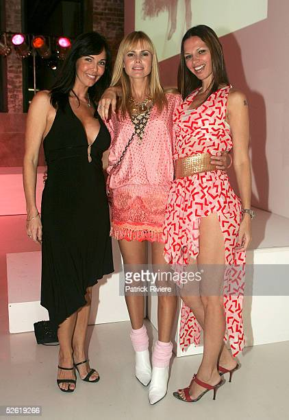 TV personality Belinda Mathieson former TV host Karen Fisher and fashion designer Tali Jatali attend the launch of The Essential Look for Mercedes...