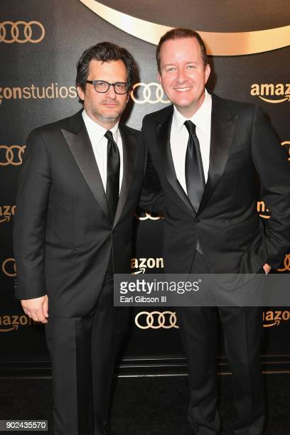 TV personality Ben Mankiewicz and guest attend Amazon Studios' Golden Globes Celebration at The Beverly Hilton Hotel on January 7 2018 in Beverly...