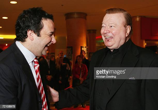 TV personality Bert Newton and Actor Mick Molloy engage in conversation before the Fox FM broadcast at the Australian premiere of the new comedy...
