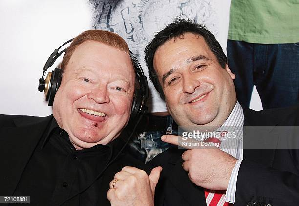 TV Personality Bert Newton and actor Mick Molloy pose together during the Fox FM broadcast at the Australian premiere of the new comedy 'BoyTown' at...