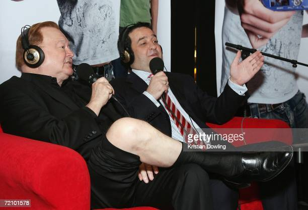 TV personality Bert Newton and actor Mick Molloy talk together during the the Fox FM broadcast at the Australian premiere of the new comedy 'BoyTown'...