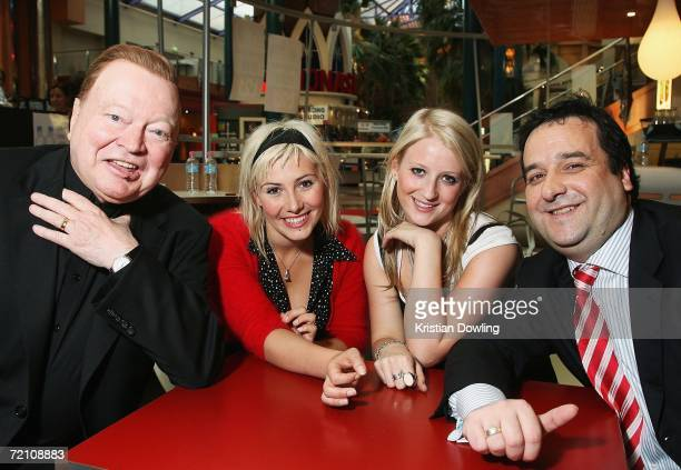 TV personality Bert Newton singers Ella Hooper and Kate ALexa and actor Mick Molloy pose together at the Australian premiere of the new comedy...