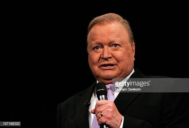 TV personality Bert Newton talks live during the production of 'Lights Camera Party' celebrating Channel Nine's Studio City on November 27 2010 in...