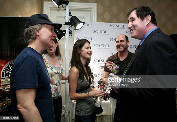 TV personality Bill Maher Cara Santa Maria Matt Weiner and actor Richard Kind at the Solstice Sunglass Boutique/Safilo USA booth during the HBO...