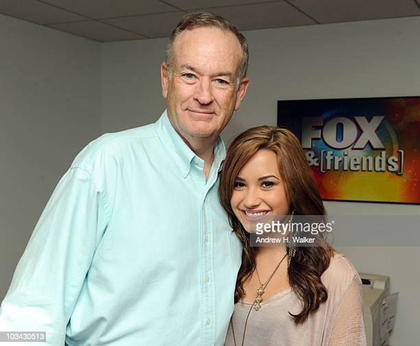 TV personality Bill O'Reilly and singer Demi Lovato visit 'FOX Friends' at the FOX studios on August 18 2010 in New York City