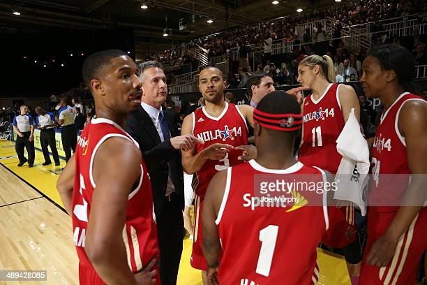 Personality Bill Simmons Coach of the West Team talks to his players during the Sprint NBA AllStar Celebrity Game at Sprint Arena during the 2014 NBA...