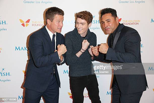 TV personality Billy Bush Travis Flores and former boxer Oscar Dela Hoya attend the MakeAWish Greater Los Angeles Annual Wishing Well Winter Gala at...