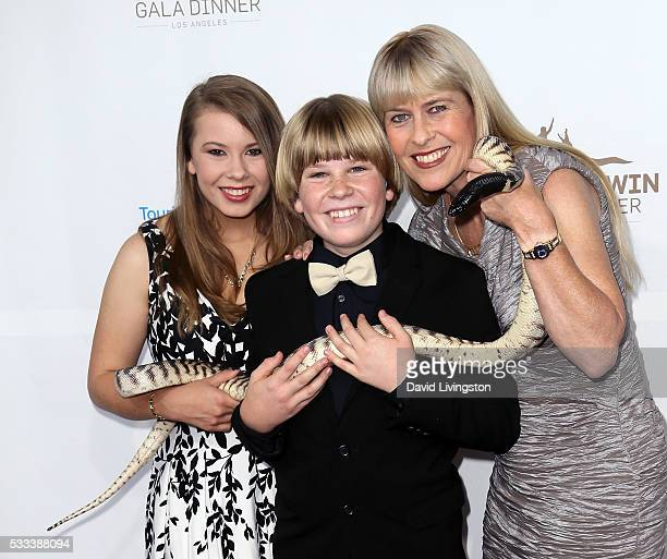 TV personality Bindi Irwin Robert Irwin and naturalist Terri Irwin attend the Steve Irwin Gala Dinner at JW Marriott Los Angeles at LA LIVE on May 21...