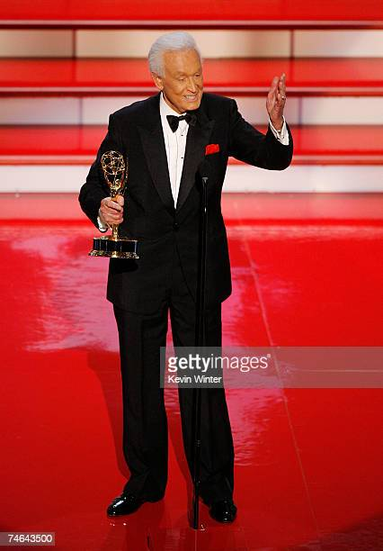 Personality Bob Barker accepts the Emmy for Outstanding Game Show Host for The Price is Right onstage during the 34th Annual Daytime Emmy Awards held...