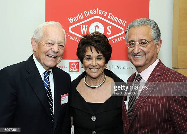 TV personality Bob Schieffer US Representative Anna Eshoo and BMI CEO Del Bryant at World Creators Summit on June 4 2013 in Washington DC