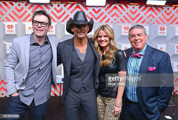 TV personality Bobby Bones musician Tim Mcgraw Amy Brown and Elvis Duran attend the iHeartRadio Music Festival at the MGM Grand Garden Arena on...
